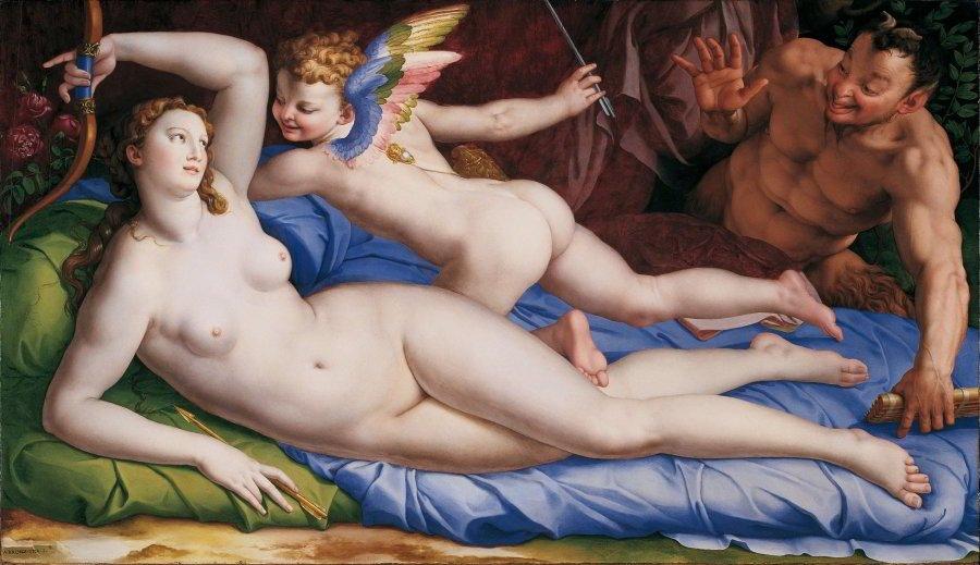 Venus, Cupido y Sátiro de Bronzino