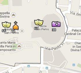 Situación de la Plaza San Pedro en el Mapa de Roma