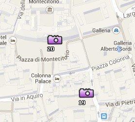 Situación del Palazzo di Montecitorio en el Mapa de Roma