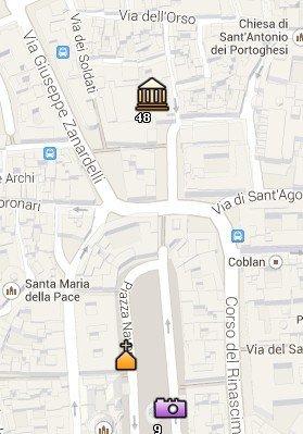 Situación del Palazzo Altemps en el Mapa de Roma
