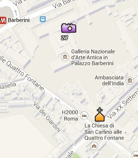 Situación del Palacio Barberini en el Mapa de Roma