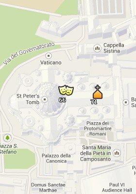 Situación de la Basilica de San Pedro en el Mapa de Roma