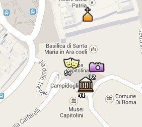 Situación de la Iglesia de Santa Maria in Aracoeli en el Mapa de Roma