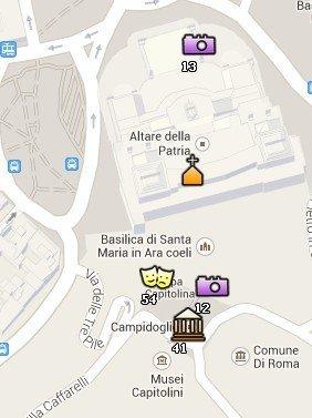 Situación de los Museos Capitolinos en el Mapa de Roma