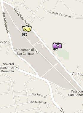 Situación de las Catacumbas en el Mapa de Roma