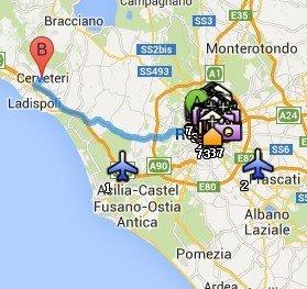 Situación de Cerveteri respecto a Roma