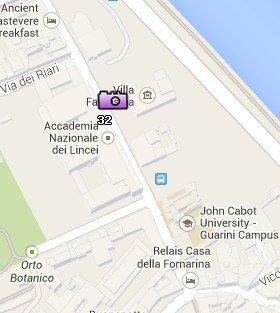Situación del Palazzo Corsini en el Mapa de Roma