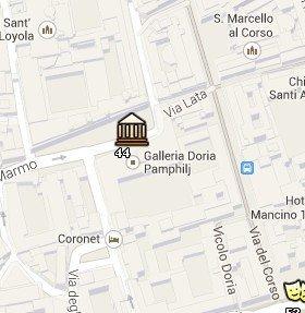 Situación de la Galería Doria Pamphili en el Mapa de Roma