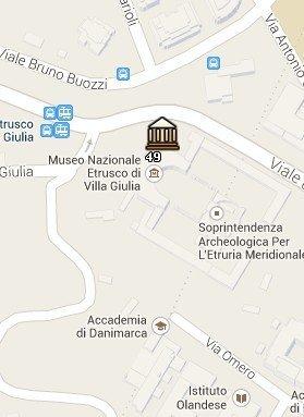 Situación del Museo Etrusco de Villa Giulia en el Mapa de Roma