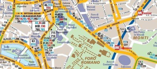 Mapa de la red de autobuses de Roma