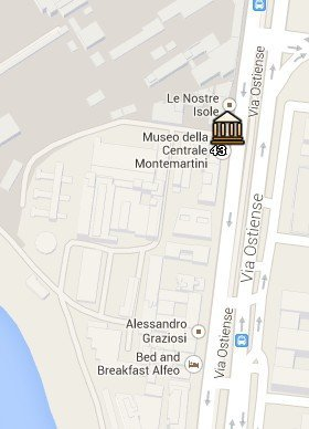 Situación de la Centrale Montemartini en el Mapa de Roma