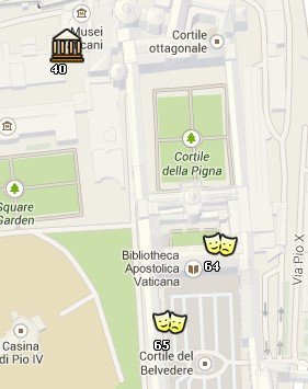 Situación de los Museos Vaticanos en el Mapa de Roma