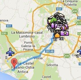 Situación de Ostia Antica respecto a Roma