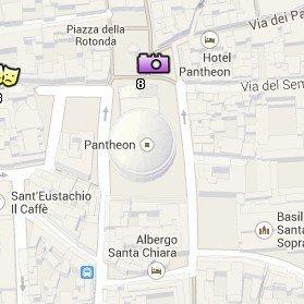 Situación del Panteón en el Mapa de Roma
