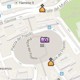 Situación de la Piazza del Popolo en el Mapa de Roma