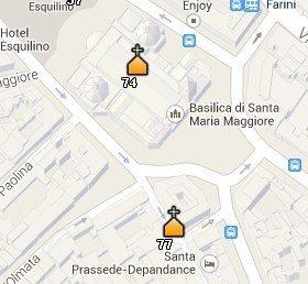 Situación de la Iglesia de Santa Prassede en el Mapa de Roma