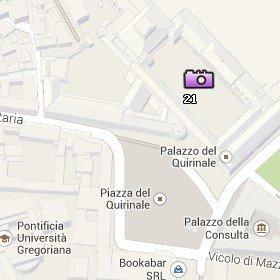 Situación del Palazzo del Quirinale en el Mapa de Roma