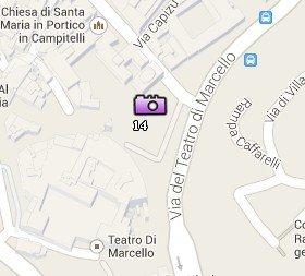 Situación del Teatro di Marcello en el Mapa de Roma