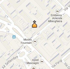 Situación de la Basílica de Santa Maria della Vittoria en el Mapa de Roma