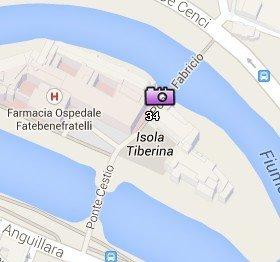 Situación de la Isola Tiberina en el Mapa de Roma
