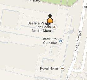Situación de San Pablo Extramuros en el Mapa de Roma