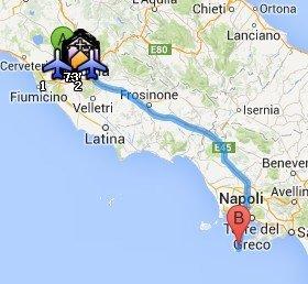 Situación de la Isla de Capri respecto a Roma