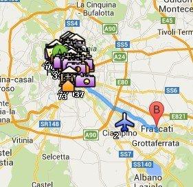 Situación de los Castelli Romani respecto a Roma
