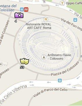 Situación del Coliseo en el Mapa de Roma