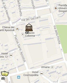 Situación de la Galería Colonna en el Mapa de Roma