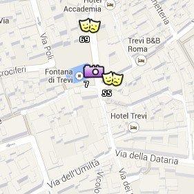 Situación de la Fontana di Trevi en el Mapa de Roma