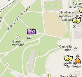 Situación de los Jardines Vaticanos en el Mapa de Roma