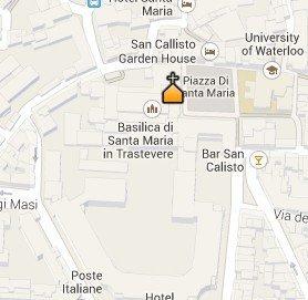 Situación de la Basílica de Santa Maria in Trastevere en el Mapa de Roma