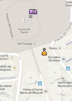 Situación de la Iglesia de Santa Maria in Montesanto y de la Iglesia de Santa Maria dei Miracoli en el Mapa de Roma