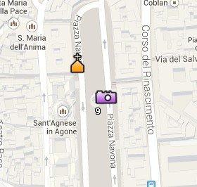 Situación de la Iglesia de Sant'Agnese in Agone en el Mapa de Roma