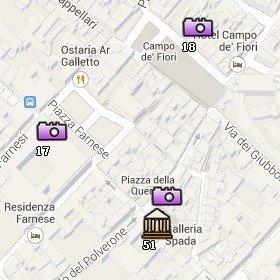 Situación del Campo de'Fiori en el Mapa de Roma