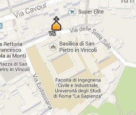 Situación de la Iglesia de San Pietro in Vincoli en el Mapa de Roma