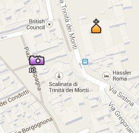 Situación de la Iglesia Trinità dei Monti en el Mapa de Roma