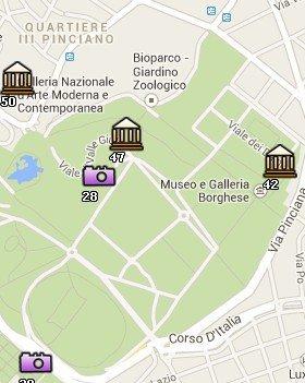 Situación de Villa Borghese en el Mapa de Roma