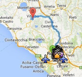 Situación de Viterbo respecto a Roma